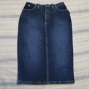 Vintage SERGIO VALENTE Blue Denim Pencil Skirt